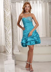 Modern Pick Ups Turquoise Beaded Mini Prom Dress Online