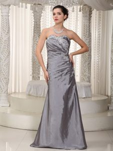 inexpensive Gray Long Prom Dress with Appliques and Beading