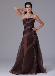 Brown Strapless Arkansas Column Prom Gown Dress With Appliques