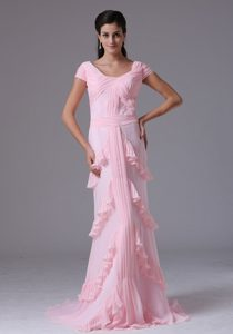 Arizona Baby Pink Column Short Sleeves Scoop Prom Gown Layered