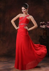 Red One Shoulder Chiffon Ruching Beaded Prom Dress In Alabama