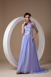 2014 Brush Train V-Neck Ruched Lilac Prom Dress for Girls