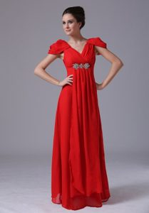 V-Neck Short Sleeves Red Prom Dress for Girls in Gainesville