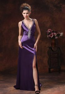 Purple V-Neck Brush Train Prom Dress with Crisscross Back