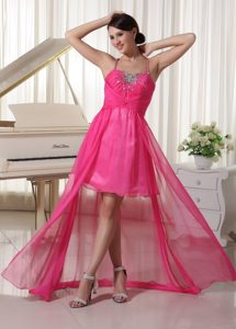 Hot Pink Spaghetti Straps Beaded High-Low Prom Celebrity Dress