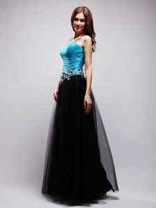 Mature A-line Sweetheart Black and Blue Appliqued Prom Dress