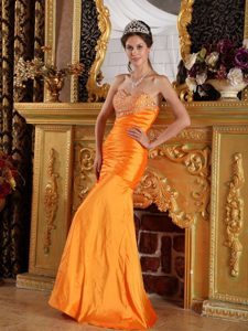 Low Price Orange Sweetheart Beaded Junior Prom for Autumn