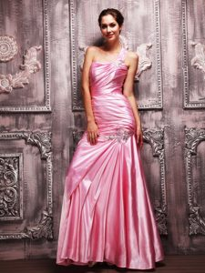 Cheap One Shoulder Ruched Rose Pink Prom Party Dress Online