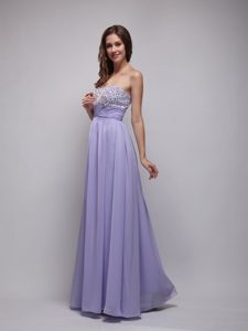 2013 Latest Empire Strapless Beaded Lilac Long Prom Dresses