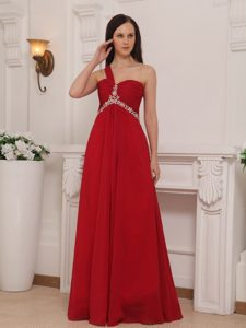 Clearance Red One Shoulder Beaded Chiffon Prom Bridesmaid Dresses