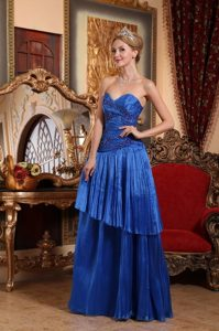 Popular Royal Blue Prom Bridesmaid Dress with Appliques and Pleats