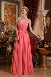 Beaded and Ruched Watermelon V-neck Prom Bridesmaid Dress Chiffon