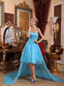 Beaded Aqua Blue Organza High Low Prom Maxi Dress with Sweetheart