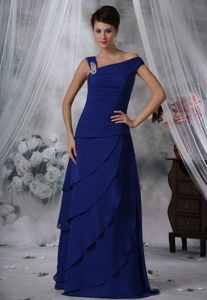 Asymmetrical Royal Blue Floor Length Prom Maxi Dress with Beading