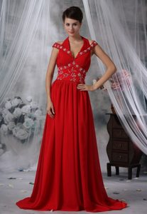 Red Halter Beading Ruches Brush Train Chiffon Prom Maxi Dress 2013