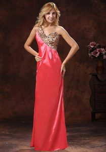 Discount Watermelon Asymmetrical Prom Maxi Dress with Leopard Print