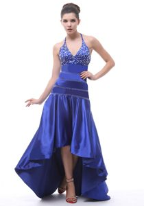 Best Royal Blue Halter High Low Prom Maxi Dress with Beading 2014