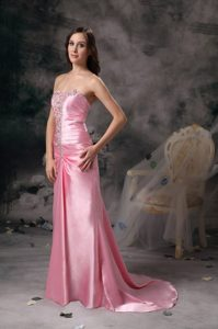 Beaded and Ruched Rose Pink Prom Maxi Dresses with Brush Train