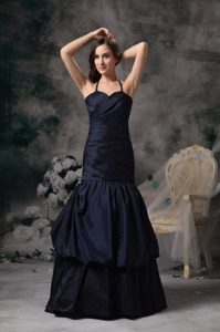 Discount Halter Pick ups Taffeta Prom Party Dresses in Navy Blue
