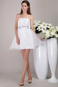 2013 New White Strapless Organza Prom Party Dress with Appliques
