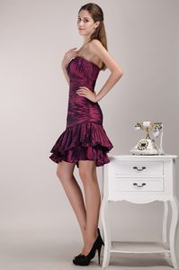 Ruched One Shoulder Mini Length Taffeta Prom Party Dress in Burgundy