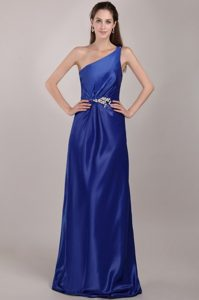 Beading Accent One Shoulder Prom Party Dress in Royal Blue 2014