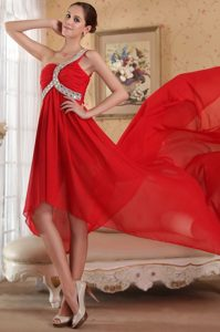 Best Red Chiffon High Low Prom Party Dress with Beaded One Shoulder