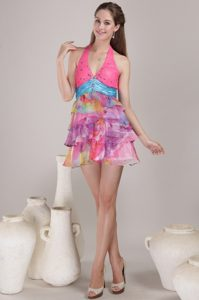 Colorful Printed Halter Mini Prom Party Dress with Beading Ruffles