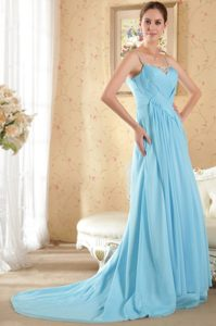 Beaded and Ruched Aqua Blue Prom formal Dress with Spaghetti Straps