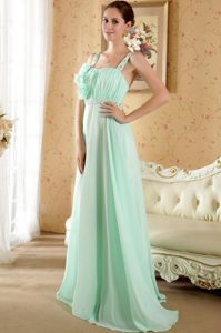 Straps Beading Flowers Ruches Brush Prom formal Dress in Apple Green
