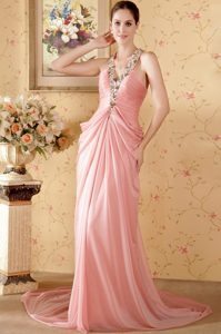 Watermelon Halter Court Train Beading Chiffon Prom formal Dresses