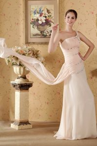 Beaded One Shoulder Ruches Chiffon Prom formal Dress in Baby Pink