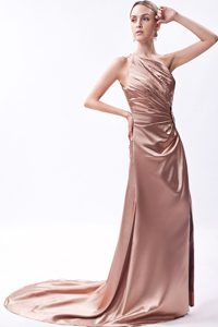 Court Train One Shoulder Champagne Prom Party Dress in Storrs