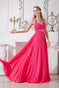 Halter Ruched Hot Pink Prom Bridesmaid Dress with Rhinestones