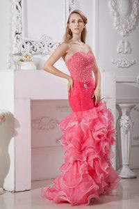 Customized Beaded Ruffled Coral Red Dress for Prom Queen
