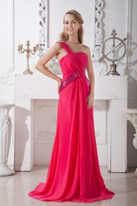 Hot Pink Brush Train One Shoulder Prom Bridesmaid Dresses