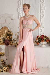 Sweetheart Beaded Slitted Baby Pink Prom Dress in Westminster