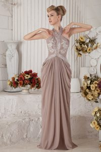 New Halter Appliqued Ruched Brown Prom Party Dress in Vail