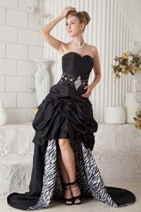 Wholesale Zebra Print Pick-Ups Beaded Black Prom Gown Dress