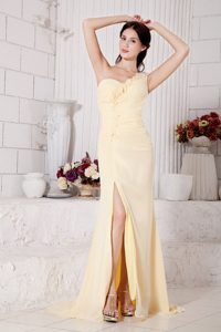 Plus Size One Shoulder Flowers Slitted Light Yellow Prom Dress