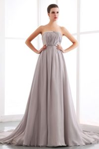 Discount Strapless Court Train Rhinestones Grey Dress for Prom