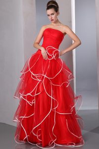Multi-Tiered Organza Strapless Red Prom Gown Dress with Ruffles