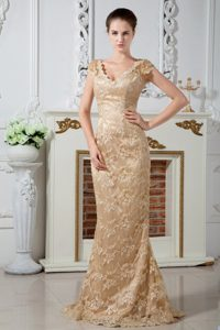 V-Neck Brush Train Champagne Lace Dress for Prom Queen