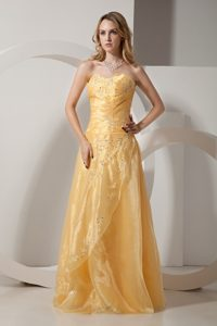 Taffeta Organza Beaded Gold Prom Dress with Embroidery