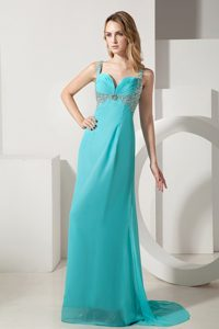Inexpensive Turquoise Beaded Brush Train Dress for Prom Queen