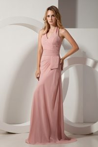 2013 New Ruches Halter Brush Train Prom formal Dress in Light Pink
