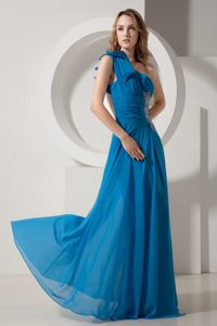 Best Blue One Shoulder Chiffon Prom formal Dress with Beading Ruches