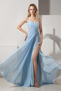 Discount Blue One Shoulder Prom Pageant Dresses with Beading 2014