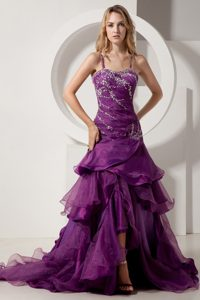 Dark Purple Spaghetti Straps Prom Party Dress with Rhinestones