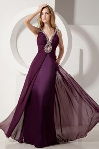 Beaded and Ruched Dark Purple Prom Pageant Dresses with Cutouts